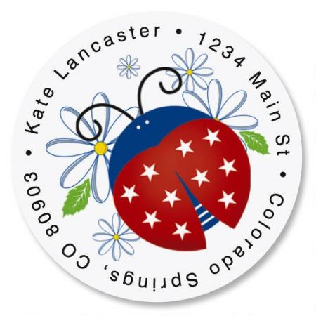 Patriotic Ladybug Round Return Address Labels