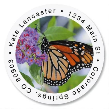 Monarch Butterfly Round Return Address Labels
