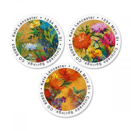 Spring Garden Round Return Address Labels  (3 Designs)