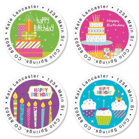 Birthday Brights Round Return Address Labels  (4 Designs)