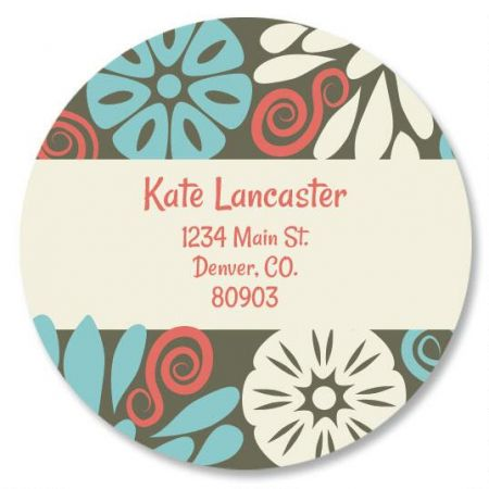 Vintage Bloom Round Return Address Labels