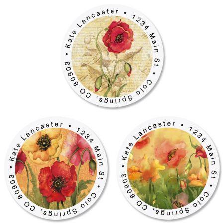 Poppies Round Return Address Labels  (3 Designs)