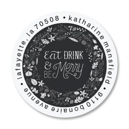 Be Merry Round Return Address Labels