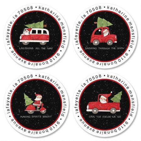 Santa's Wheels Round Address Labels  (4 Designs)