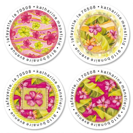Island Hibiscus Round Return Address Labels  (4 Designs)