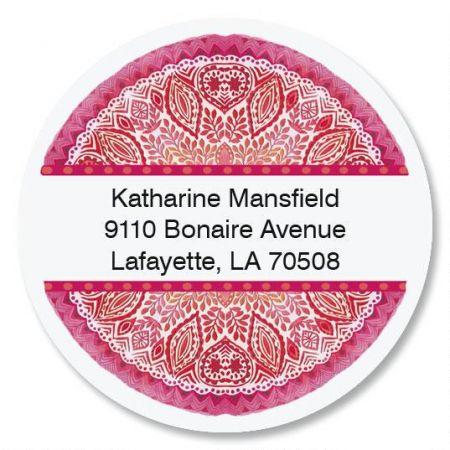 Mandala Treasure Round Return Address Labels