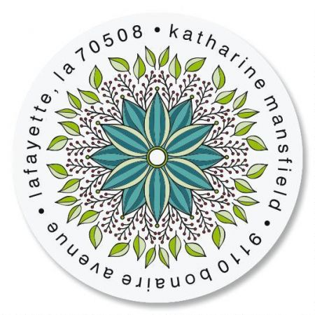 Organic Bloom Round Address Labels