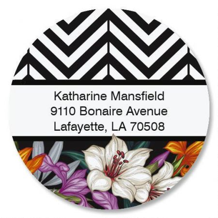Tropical Chevron Round Return Address Labels