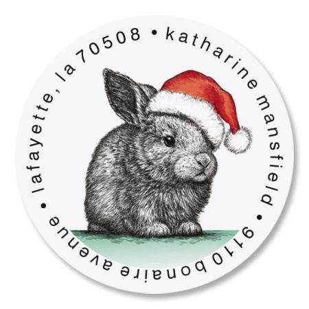 Santa Bunny Round Address Labels