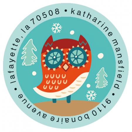 Winter Friends Round Address Labels (6 Designs)