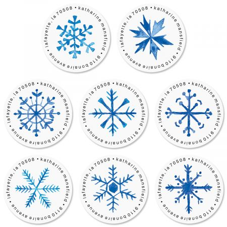 Blue Snowflakes Round Return Address Labels (8 Designs)