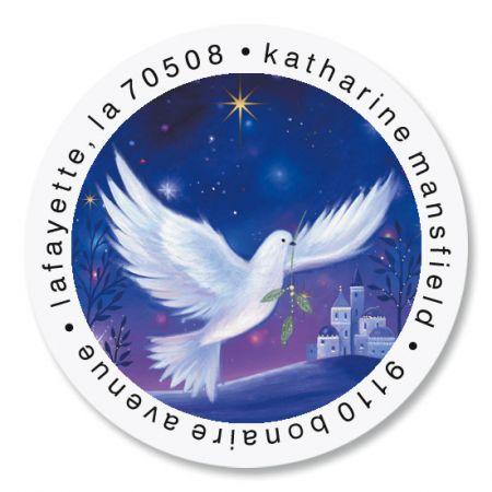 Peaceful Dove Round Return Address Labels