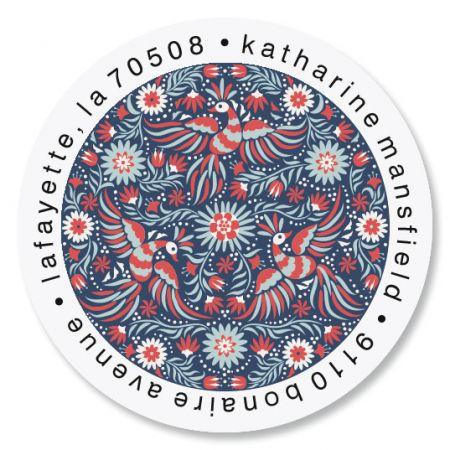Folk Art Round Address Labels