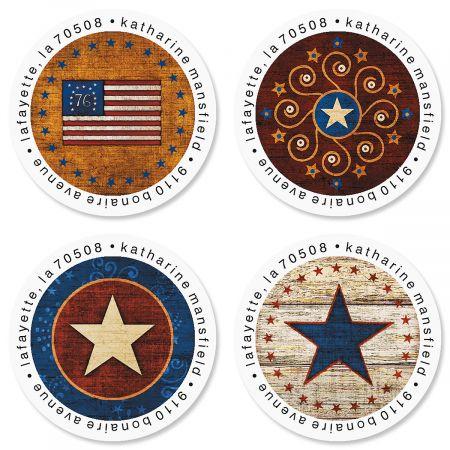 Patriotic Round Address Labels (4 Designs)