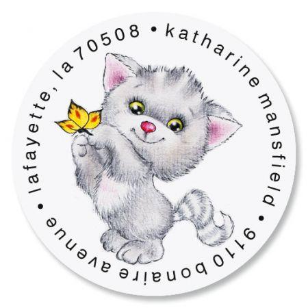 Kitten Cuties Round Address Labels (6 Designs)