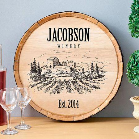 Private Label Personalized Wine Barrel Sign