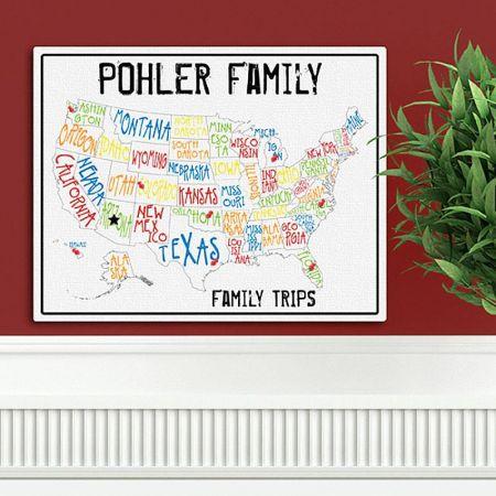 Americana Spectrum Family Map Canvas Print
