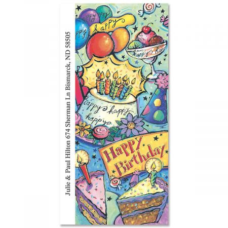 Happy Birthday  Oversized Return Address Labels