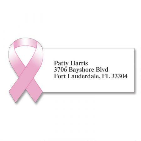 Pink Ribbon Diecut Return Address Labels
