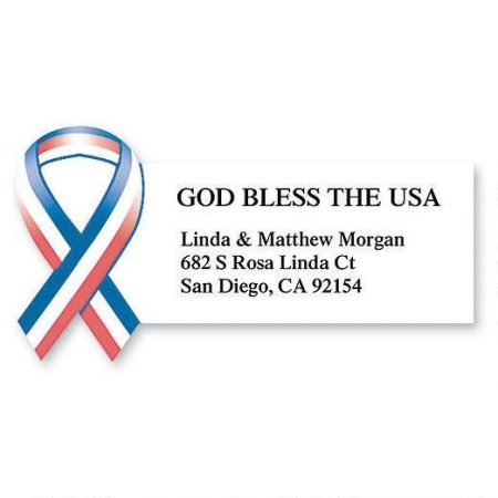 God Bless the USA  Diecut Return Address Labels
