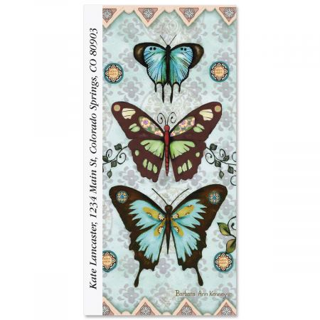 Aqua Butterfly Collage Oversized Return Address Labels