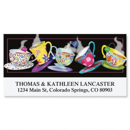 Tossing Teacups Deluxe Return Address Labels