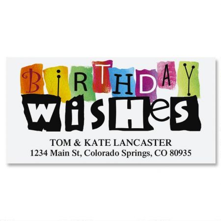 Birthday Wishes II Deluxe Return Address Labels
