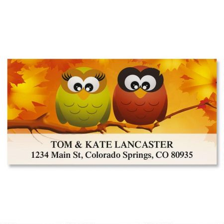 Owls in Autumn Deluxe Return Address Labels