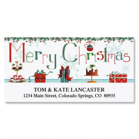 christmas treats deluxe return address labels colorful images
