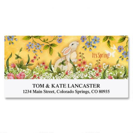 Spring Bunny Deluxe Return Address Labels