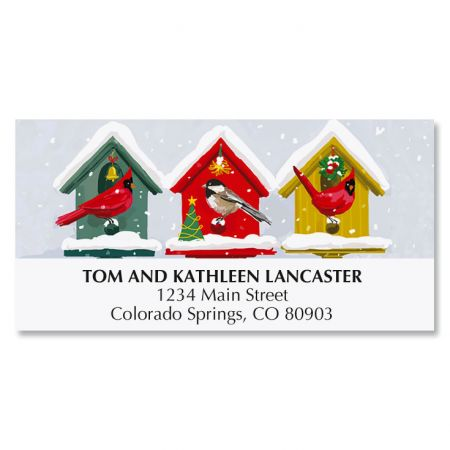 Holiday Birdhouses Deluxe Return Address Labels