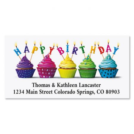 Cupcake Wishes Birthday Deluxe Return Address Labels