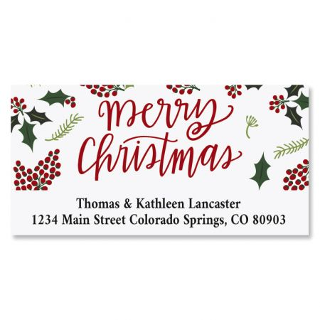 berry border deluxe christmas address labels colorful images