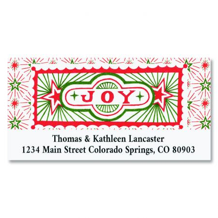 joyous christmas deluxe return address labels colorful images