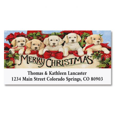 Truck Puppies Deluxe Christmas Address Labels