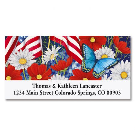 Red White and Bloom Deluxe Return Address Labels