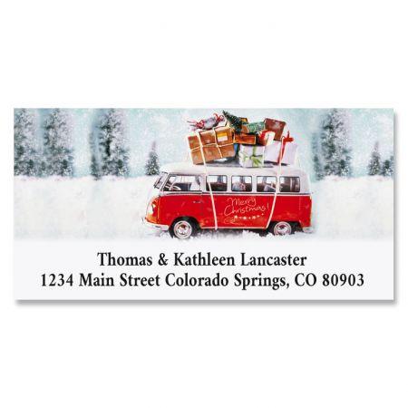 Christmas Bus Deluxe Return Address Labels