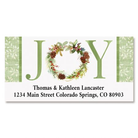 Joy Wreath Deluxe Return Address Labels