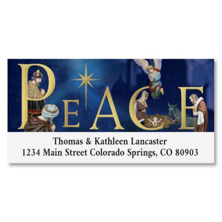 Peace Nativity Deluxe Return Address Labels