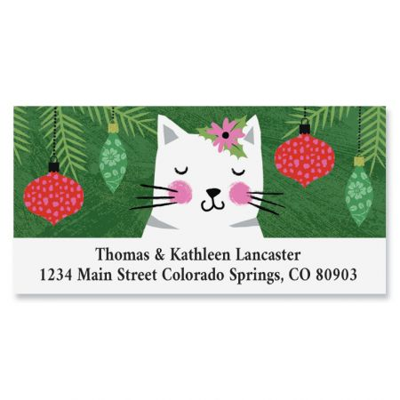 Crazy Cats Christmas Deluxe Return Address Labels
