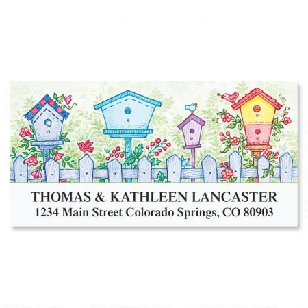 Garden Birdhouses  Deluxe Address Labels