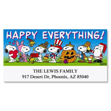 PEANUTS Happy Everything Deluxe Return Address Labels
