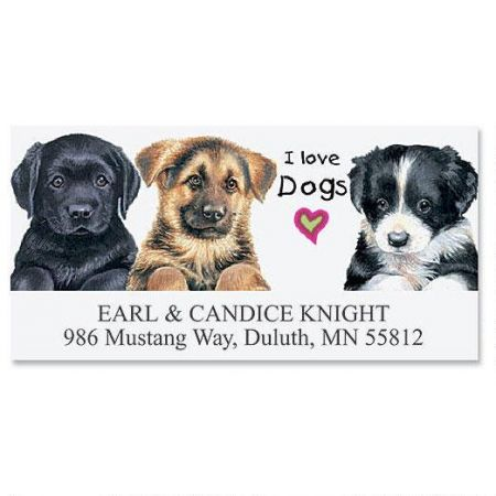 i love dogs deluxe return address labels colorful images