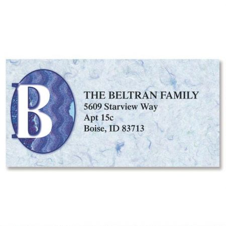 Edgy Initial Border Return Address Labels