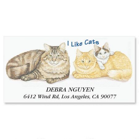 I Like Cats Deluxe Return Address Labels