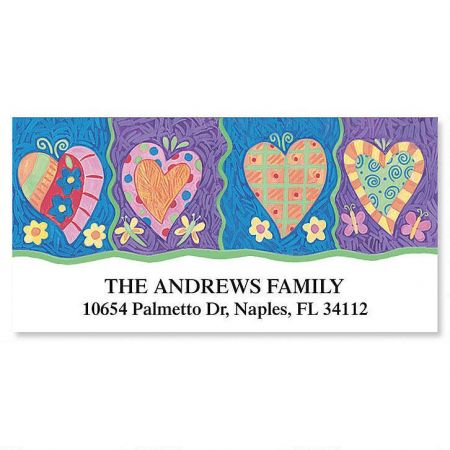 Bright Hearts Deluxe Return Address Labels