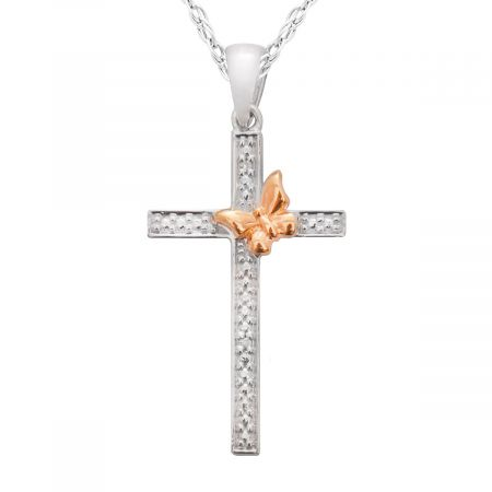 "Diamond Accent Cross/Butterfly Pendant with 18"" Chain"
