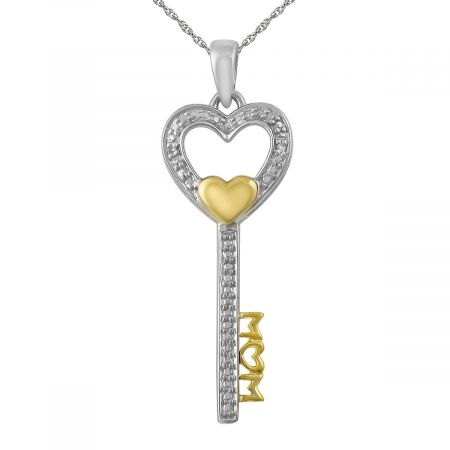 """Diamond Accent Mom Key with Heart  Pendant with 18"""" Chain"""