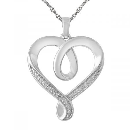 """Diamond Accent Heart Pendant with 18"""" Chain"""