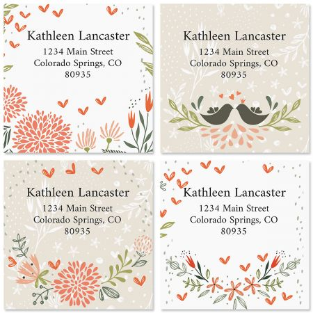 Spring Mix Square Labels (4 Designs)